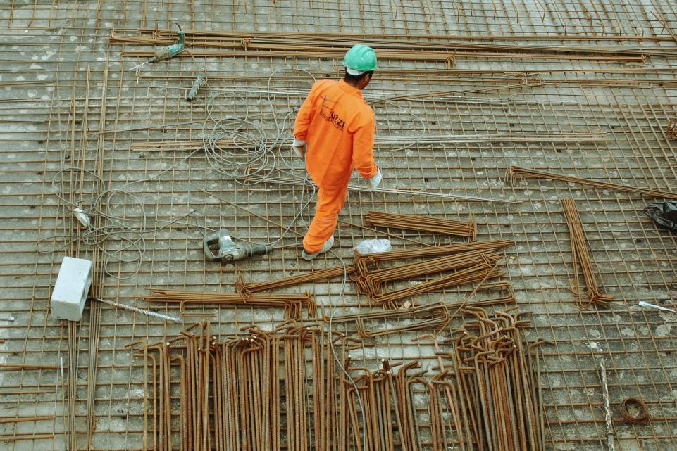 A construction worker on a building site